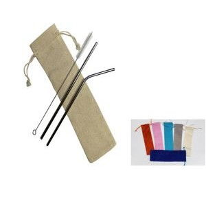 2 silver Stainless Steel Straw With 1 Cleaning Brush with a linen pouch, Free Shipping!