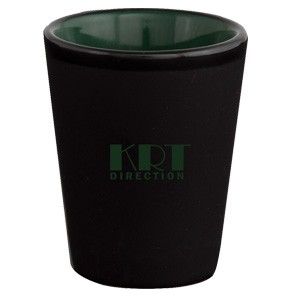*Mug Shots 1.5oz 2tone black/dark green ceramic shot glass